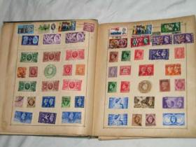 Two pages of the Strand Stamp Album, showing stamps from Great Britain