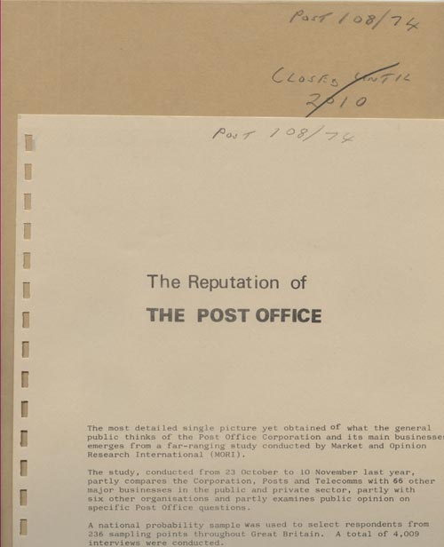 A file in our archive on the Reputation of the Post Office (POST 108/74)