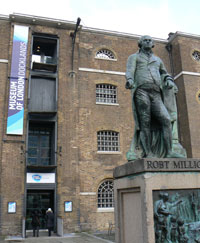 The exterior of the Museum of London Docklands, a former dock side warehouse completed in 1802.