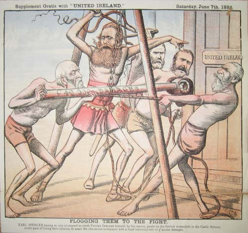 "A cartoon about the United Ireland trial captioned ""Flogging them to the fight: Earl Spencer having in vain attempted to crush United Ireland himself, by fair means, goads on the foulest scoundrels in the Castle Service, under pain of losing their salaries, to assail the obnoxious newspaper with a legal battering-ram of £40,000 damages""."
