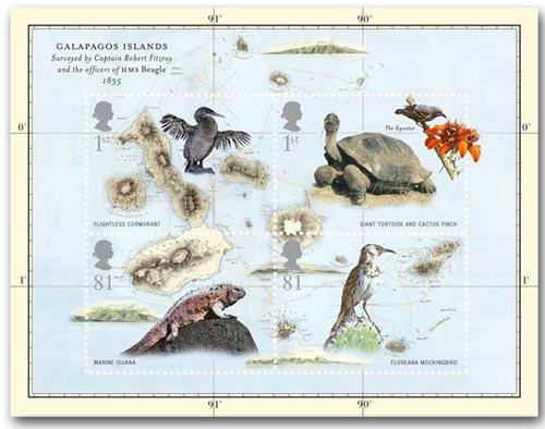 Charles Darwin Galapagos Islands miniature sheet, 2009