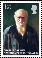 John Collier's portrait of Charles Darwin as it appeared on a stamp as part of the National Portrait Gallery 150th Anniversary issue, 2006