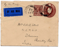 An Air Mail cover on display at the exhibition