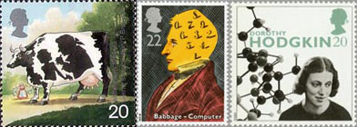 Jenner's development of smallpox vaccine stamp, released as part of The Patients Tale issue (1999); Birth Centenary of Charles Babbage (computer pioneer) stamp, released as part of Scientific Achievements (1990); Professor Dorothy Hodgkin (scientist) stamp, released as part of the Famous Women issue (1996).