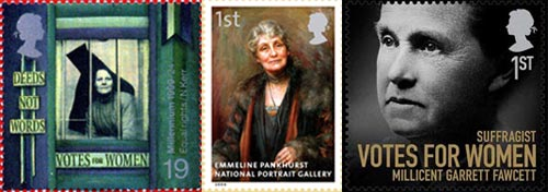 A trio of women's suffrage stamps
