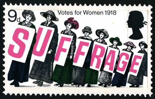 Unadopted design for Votes for Women stamp by David Gentleman