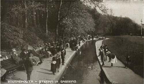 Another of the postcards which will be on display: Bournemouth - Stream in Gardens