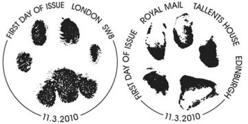 First day of issue postmarks for the 150th Anniversary of Battersea Dogs & Cats Home issue.