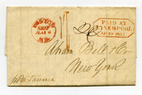 A letter sent from Liverpool to New York in 1841