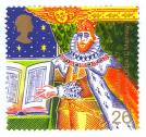 King James I and Bible (Authorised version of the Bible) stamp, released in 1999 as part of The Christians' Tale.