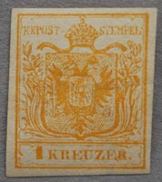 The unused 1kr orange of 1850