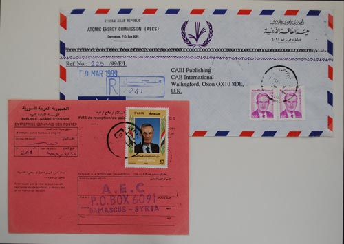 Avis de Réception cover and receipt from Syria