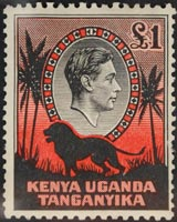 £1 George VI stamp from Kenya, Uganda & Tanganyika