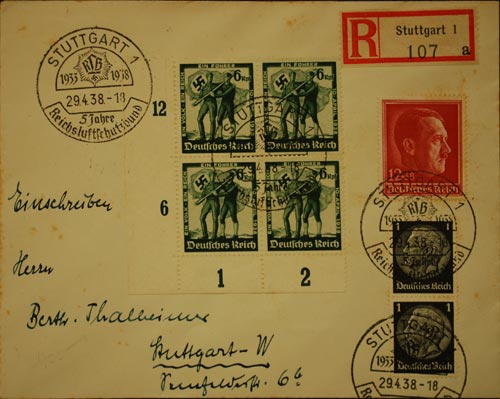 A cover sent in 1938 from Stuttgart