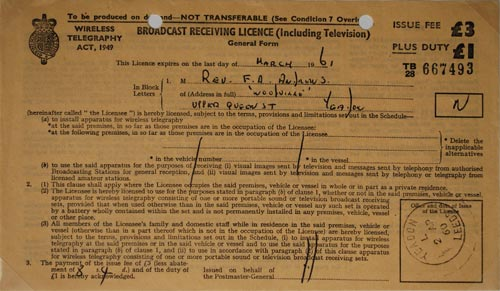 A TV licence issued in 1960