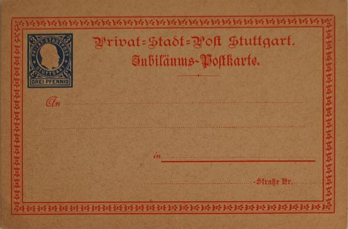 Stuttgart Privat Post postcard