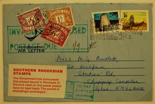 A surcharged air-mail letter from independent Rhodesia