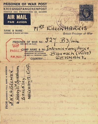 British prisoner of war post from Germany