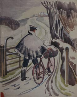 A postman wheels his bike down a country lane