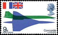 A stamp depicting the first flight of Concorde, 1966
