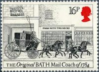 A stamp depicting the original Bath mail coach of 1784, released 1984