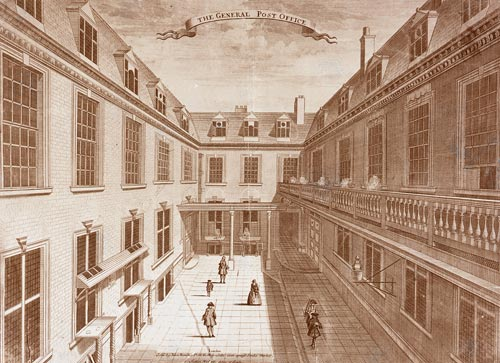 The courtyard of the General Post Office, London, 1700s