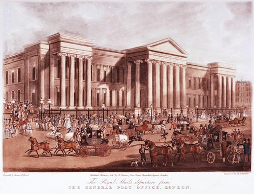 Mail coach and horses departing from the General Post Office white neoclassical building designed by Smirke and located in St Martins-le-Grand. Some boys run alongside, waving hats and hands. The men in the painting wear top hats.