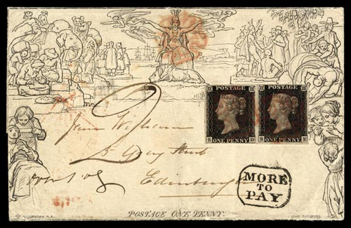 Mulready envelope with two penny blacks and a more to pay stamp