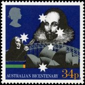 Shakespeare on a stamp celebrating the Bicentenary of Australian Settlement, 1988