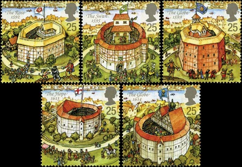 Reconstruction of Shakespeare's Globe Theatre stamp issue, 1995