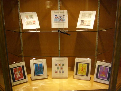 Unadopted stamps designs with Scottish themes on display