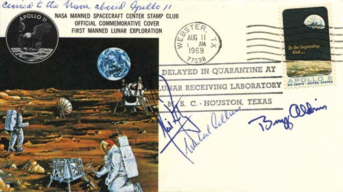 Apollo 11 cover, signed by Neil Armstrong, Buzz Aldrin and Michael Collins