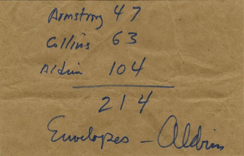 The paper bag on which Buzz Aldrin listed how many covers had flow with each astronaut on Apollo 11