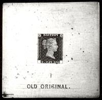 The 'Old Original' die, 1840, from which all Penny Black plates and most Penny Reds were made. OB1998.0391
