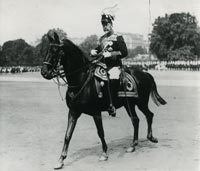 King George V riding his horse, Anzac
