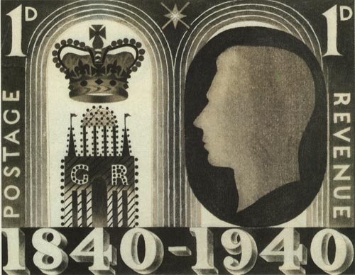 Eric Ravilious' un-adopted design for the Adhesive Stamp Centenary, 1940