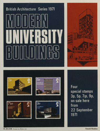 A poster advertising the Modern University Buildings stamp issue