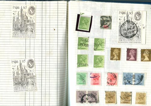 Jeffrey Matthew's stamps for the 1980 London International Stamp exhibition as they appear in Frank Steel's stamp album