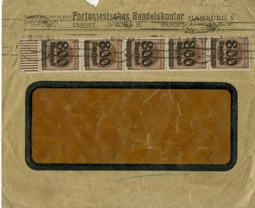 Envelope from Weimar Germany with five 400 Mark stamps on the front overprinted to valued them at 800,000 Marks