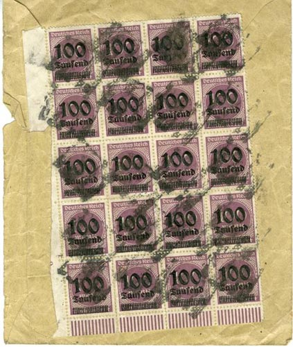 Envelope from Weimar Germany with twenty 100 Mark stamps on the reverse, overprinted to value them at 100,000 Marks