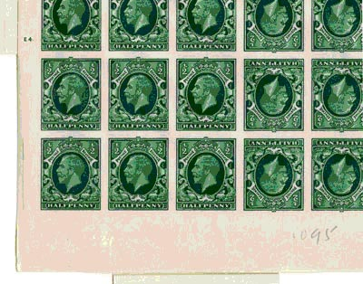 KGV ½d green photogravure, booklet panes of six, imperforate 1935 Jul 26 (POST 150/KGV/B/1557)