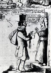 Detail of a satirical Mulready envelope showing the jibes towards the trouser-less letter carrier
