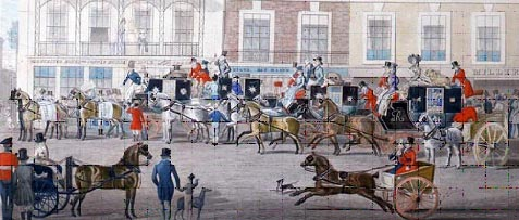 Detail of the colour engraving 'West Country Mails at the Gloucester Coffee House, Piccadilly', 1828 (2009-0080). Note the similarity of the coach men's uniform with the military gentleman to the bottom left of the picture.