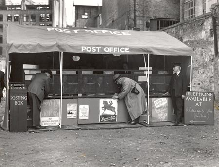 Mobile post office set up in a bombed area of London, 1941