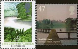 Stamps showing Blenheim Palace, British Gardens (1983) and World Heritage Sites (2005)