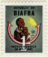 A stamp celebrating independence for the Republic of Biafra