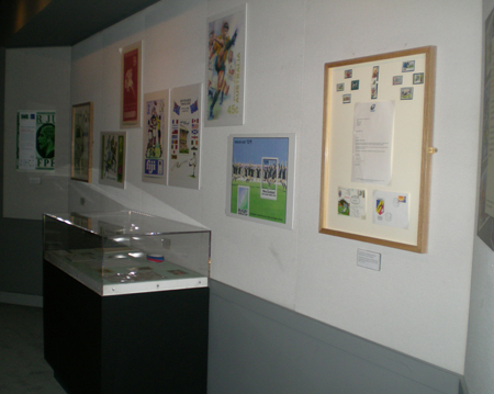 The rugby stamps display at Twickenham World Rugby Museum