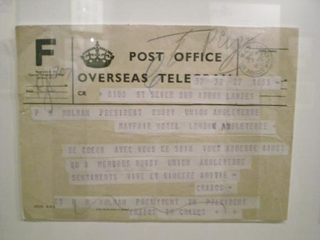 A telegram to the RFU President from his French counterpart congratulating him on England's win in 1953