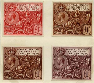 Colour trials for the Postal Union Congress £1 stamp of 1929