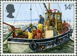 Cockle-dredging stamp from the Fishing issue, 1981